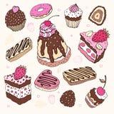 Set of cute cake. Royalty Free Stock Image