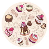 Set of cute cake. Stock Images