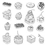 Set of cute cake. Contour illustration Royalty Free Stock Photography