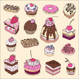 Set of cute cake. Stock Photography