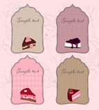 Set of Cute Cake Tags for design Royalty Free Stock Photo