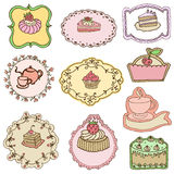 Set of Cute Cake Tags Royalty Free Stock Photos