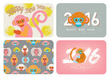 Set of cute card with monkeys. (Symbol of Chinese new year).Cartoon-like stylization Royalty Free Stock Photos