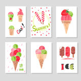 Set of cute card templates with watercolor ice cream for design. Stock Photography