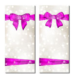 Set of cute cards with gift bows Stock Images