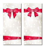 Set of cute cards with gift bows Stock Photography