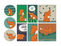 Set of cute cards with kind foxes  on white background.  Stock Photo