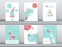 Set of cute cards,poster,template,greeting cards,animals,dinosaurs,Vector illustrations Stock Images