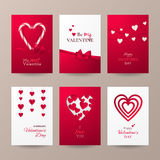 Vector set of cute cards for Valentine`s day celebration with candy cane, hearts, bow and ribbon. Set of cute cards for Valentine's day celebration with Royalty Free Stock Photo