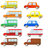 Set of cute cars silhouette Stock Photos