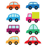 Set of cute cars and truck Royalty Free Stock Photo