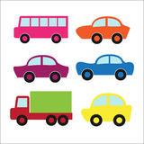 Set of cute cars and truck Stock Photography