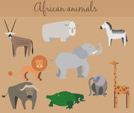 Set of cute cartoon african animals Stock Photos