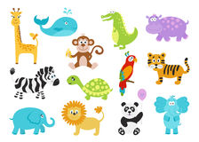 Set of cute cartoon  animals for baby  clothes, alphabet cards. Set of cute cartoon  animals for baby goods.  Giraffe,  crocodile, elephant, hippo, panda, lion Stock Image