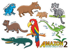 Set of Cute cartoon Animals and birds in the Amazon areas of Sou. Th America isolated on white background. poison dart frog, tapir, emperor tamarin, giant otter Stock Photography