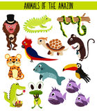 Set of Cute cartoon Animals and birds of the Amazon areas of South America isolated on white background. Jaguar, crocodile, piranh Royalty Free Stock Image