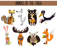 Set of Cute cartoon Animals birds living in taiga. Owl, Fox, hare, elk, bear, crow, Chipmunk, and wolf. Vector Stock Photography