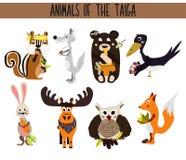 Set of Cute cartoon Animals birds living in taiga. Owl, Fox, hare, elk, bear, crow, Chipmunk, and wolf. Vector Stock Photography
