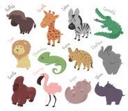 Set of cute cartoon animals. Funny savannah Royalty Free Stock Photos