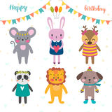 Set of cute cartoon animals for Happy Birthday design. Funny bac Stock Photography