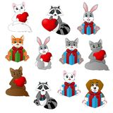 Set of cute cartoon animals holding heart and gift box. Illustration Royalty Free Stock Photos