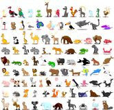 Set of 100 cute cartoon animals,vector. Illustration picture Stock Photography