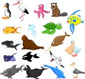 Set of cute cartoon animals,vector Royalty Free Stock Photos