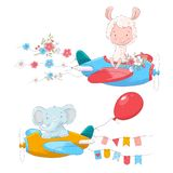 Set of cute cartoon animals Lama and an elephant on a plane with flowers and flags for children illustration. royalty free illustration