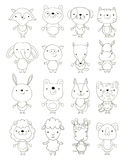 Set of cute cartoon animals outlines Royalty Free Stock Photography