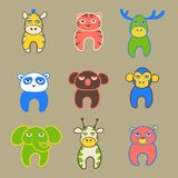 Set of cute cartoon animals with tired faces. Vector illustration Stock Image