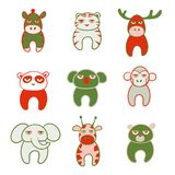 Set of cute cartoon animals with tired faces. Vector illustration Stock Photography
