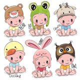 Set of Cute Cartoon Babies. In hats of different animals Stock Photos