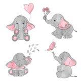 Set of cute cartoon baby elephants. Stock Photography