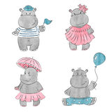 Set of cute cartoon baby Hippo Stock Images
