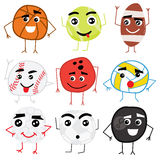 Set of Cute Cartoon Balls Characters. Stock Photo