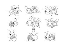 Set with cute cartoon bees. Hand drawing objects on white background. Vector illustration. Coloring book stock illustration