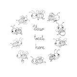 Set with cute cartoon bees. Hand drawing objects on white background. Vector illustration. Coloring book royalty free illustration