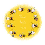 Set with cute cartoon bees. Objects on white background. Vector illustration stock illustration