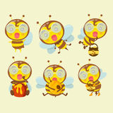 A set of cute cartoon bees. A set of cute cartoon bees on pastel background Stock Photo