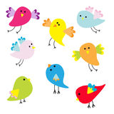 Set of cute cartoon birds Royalty Free Stock Photos