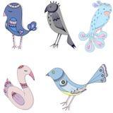Set Of Cute Cartoon Birds royalty free illustration