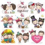 Set of Cute Cartoon Boy and Girl
