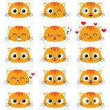 Set of cute cartoon cat emotions Stock Photos