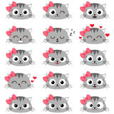 Set of cute cartoon cat emotions Stock Photography