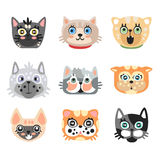 Set of cute cartoon cats heads. Colorful character vector Illustrations Stock Image