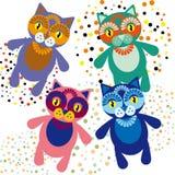 Set of cute cartoon cats. Vector Stock Photos