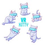 Set of cute cartoon cats with VR glasses royalty free illustration