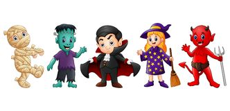 Set of cute cartoon children in Halloween costumes Royalty Free Stock Photography