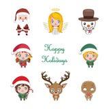 Set of cute cartoon Christmas characters Stock Photos