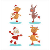 Set of cute cartoon christmas characters. Vector illustration. Royalty Free Stock Photography